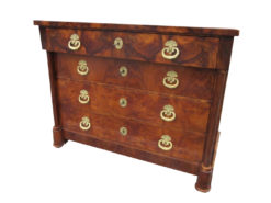Walnut Commode from 1830, Antique Commode, Antique Chest of Drawers, Brass Fittings, Columns, Walnutwood Chest of Drawers