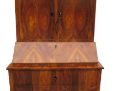 Brown Biedermeier Secretaire with Walnut Veneer, Biedermeier Secretary, Antique Secretary, Original Biedermeier Furniture
