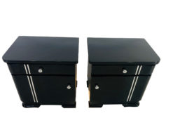 Pair of Art Deco Night Stand in Piano Lacquer Black, Black Furniture, Art Deco Furniture, Bedtables, Design, Interior Design, High End Furniture