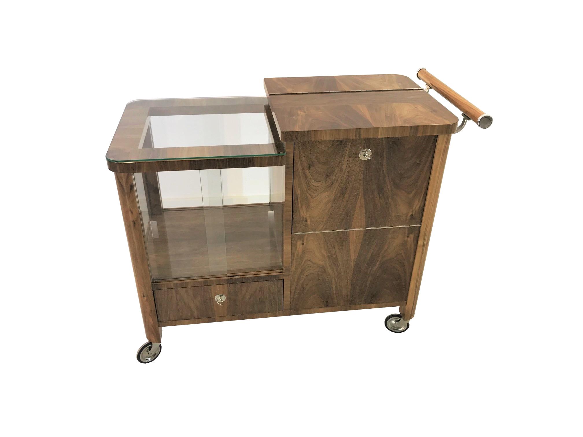 Art Deco Bar Cart Walnut Wood