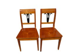 Pair of Biedermeier Style Chairs, Biedermeier Set, Antique Chairs, Famous Biedermeier Style, Cherrywood Chairs, Black Ornaments