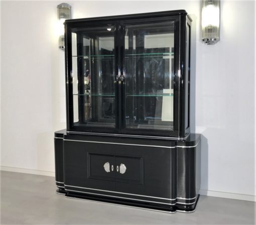 High Gloss Black Art Deco Vitrine Cabinet, Art Deco Furniture, Design Furniture, High Gloss Black Furniture, Interior Design, Luxury Furniture