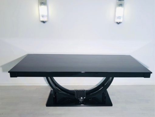 Adolf Loos Art Deco Dining Table High Gloss Black, Art Deco Table, 1920s, Austria, Design table, High end dining table, luxury tables, interior design