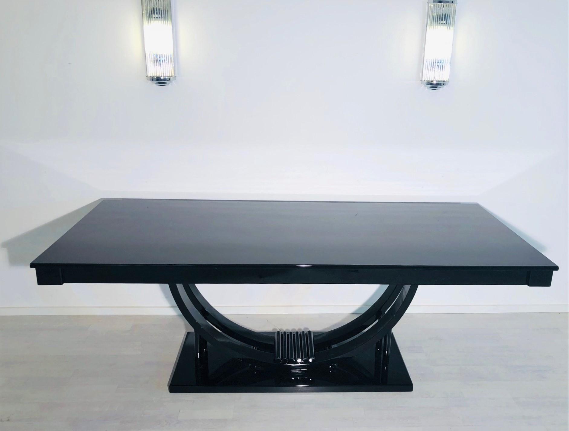 Adolf Loos Art Deco Dining Table High Gloss Black