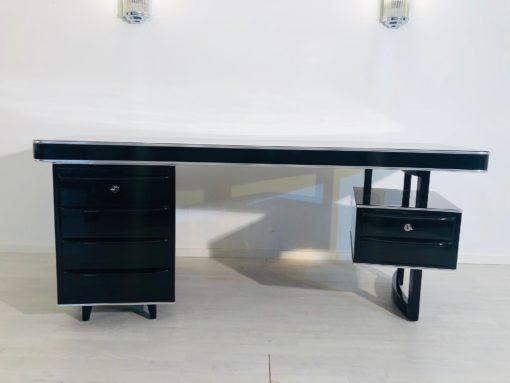 1950s Bauhaus Desk in High Gloss Black, Bauhaus Design, Interior Design, Luxury Furniture, Luxury office furniture, high end desk, mid-century