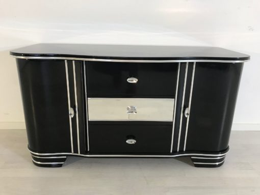 Art Deco Chromliner Commode from 1920, original antique, Chromliner, drawers in the middle, black, Hifi-media, two doors, 1