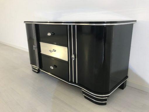 Art Deco Chromliner Commode from 1920, original antique, Chromliner, drawers in the middle, black, Hifi-media, two doors, ,4