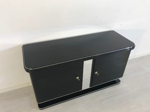 1925 Black Art Deco Commode with Chrome Details, Painted antique furniture, high gloss finish, interior design, luxury furniture, art deco furniture