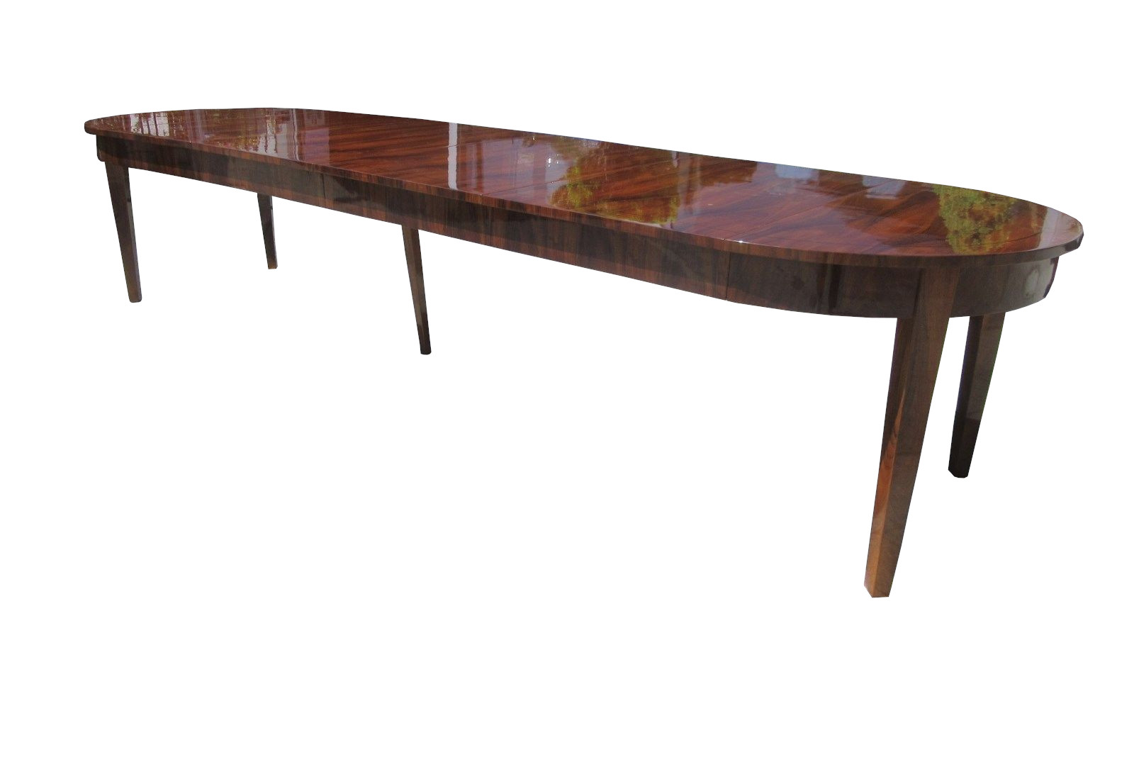 Large Biedermeier Style Dining Table or Conference Table Walnut Wood  Veneered