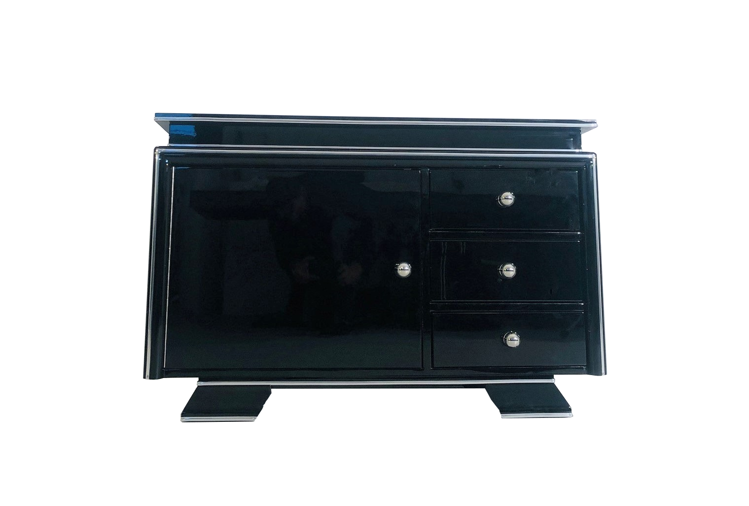 High Gloss Black Art Deco Bar Commode From The 1930s