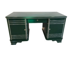 Art Deco Chrome Liner Desk made of Solid Wood, 1920 from France, Art Deco Furniture, Original Art Deco, Art Deco Writing Table, Jaguar Racing Green