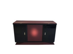Art Deco Sideboard made of Solid Wood around 1920 from France, Art Deco Furniture, Art Deco Buffet, Burgundy Softtouch Leather, Original Art Deco