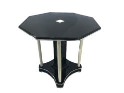 Art Deco Table from France around 1920, Art Deco Furniture, Original Art Deco, Black Furniture, Octagonal Table, Column Table