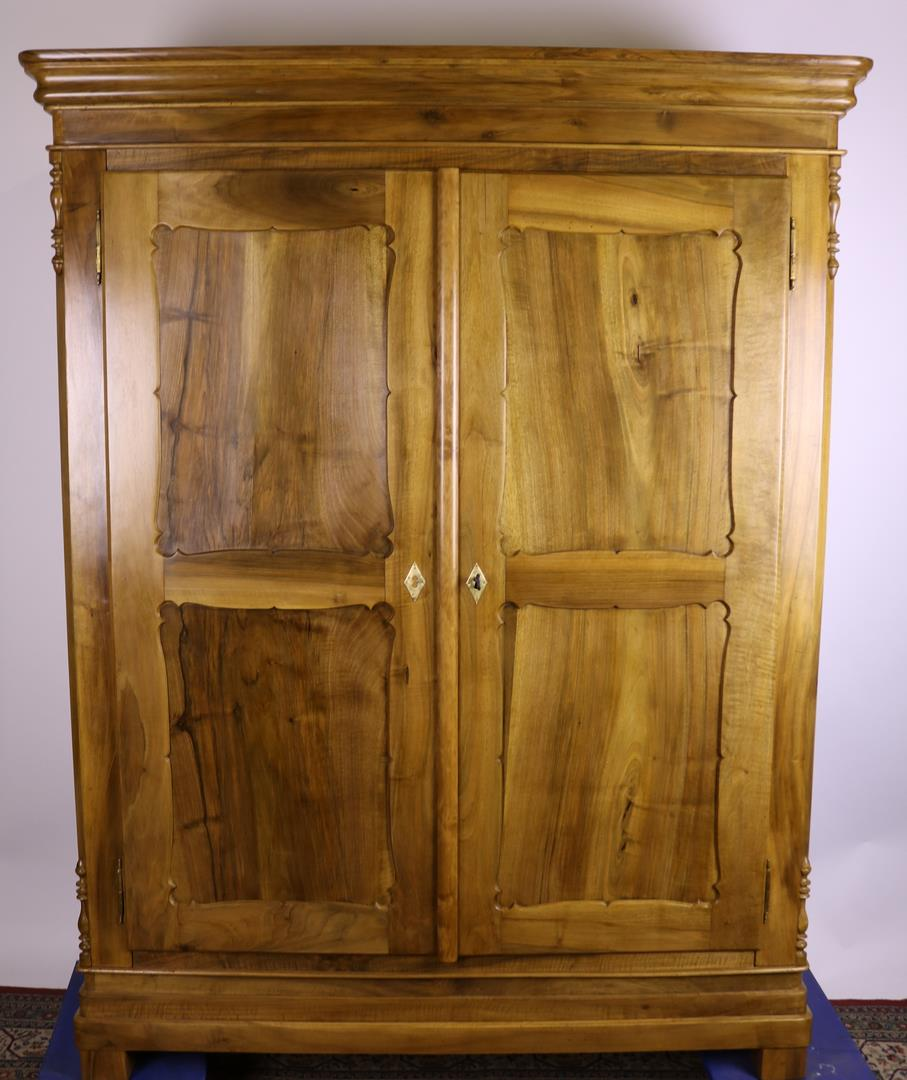 Biedermeier Cabinet With Carved Panel Doors Made Of Walnut Around