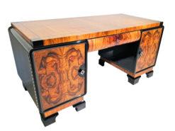 Walnut Burlwood Desk from the Art Deco Era, Art Deco Furniture, Luxury Desks, Office furniture, antiques, antique desks, french furniture desks