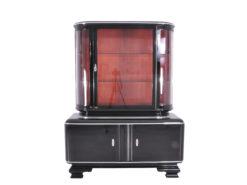 Classic Pianolacquer Art Deco Vitrine Cabinet, Art Deco furniture, luxury furniture, interior design, high gloss black vitrine, restoration
