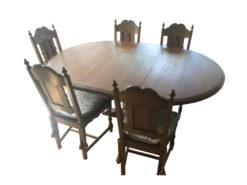 Massive Wood Dining Room Table and Chairs