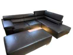 Black Modern Leather Couch With Ottoman