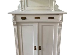 Antique White Cabinet With Wodd Carvings