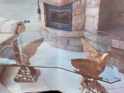 Glass Coffee Table with Eagle-Pedestals