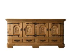 Antique Oak Wood Commode With Beautiful Wood Carvings
