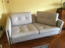 Beige Leather 2-Seat Couch - As New