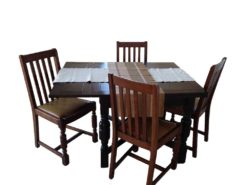 Adjustable Table With 4 Chairs - Made Of Solid Wood