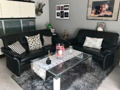 Black Leather Designer Couch Suite