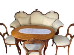 Antique Living Room Suite: Sofa, Chairs And A Coffee Table
