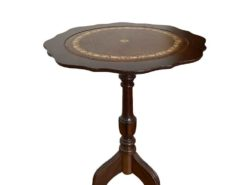 Antique Round Side Table Made Of Solid Wood With A Brown Leather Surface