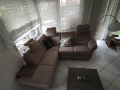 Brown Corner Couch With Electric Relax Chair