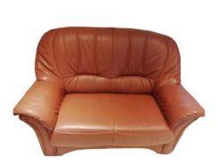 Brown Leather Sofa Suite, 3-Seater, 2-Seater And An Armchair