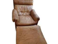 Brown Relax Leather Chair With Ottoman