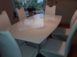 White Dining Room Set: Table And 6 Matching Chairs