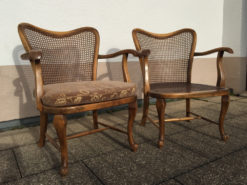 Two Armchairs Made of Solid Wood And Rattan