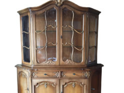 Antique Display Cabinet Made Of Solid Wood With Floral Carvings