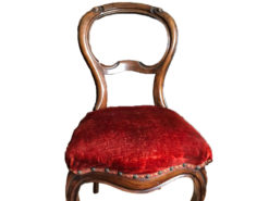 2 Antique Chairs With Red Velvet Cushion