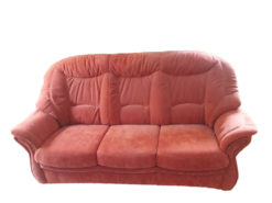 Red 3-Seater Sofa With Matching Armchair