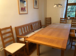 Dining Room Set: Table, Bench, Chairs, Commode and Buffet - Made Of Oak Wood