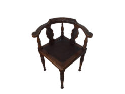 Antique Chair Made Of Dark Wood With Floral Carvings