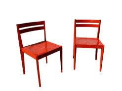 Red THONET Chairs, Made of Solid Wood