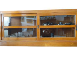 Antique Sideboard Madae Of Cherry Wood With Glass Slide Doors