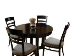 SELVA Round Dining Room Table With Additional Suqare Laps And Matching Chairs