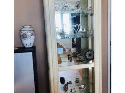 Antique White Display Vitrine With Glass Shelfes
