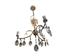 e Golden Chandelier With Cristalls And Three Arms