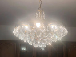 Antique Round Chandelier With Many Cristalls