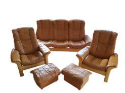 Brown Leather Sofa Suite With Secret Storage Box