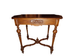 Antique Side Table With Turned Legs and Floral Carvings