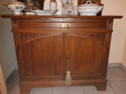 Antique Sideboard Made Of Solid Wood With Floral Carvings