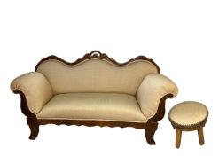 Antique Upholstered Biedermeier Sofa Made Of Solid Wood